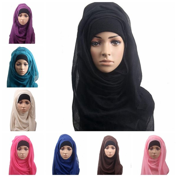 14 colors Muslim Women Shawl Scarf Long Head Cover Headscarf Muffler Muslim Islamic Wrap Headscarf Neck Full Cover Scarf MMA454 50pcs