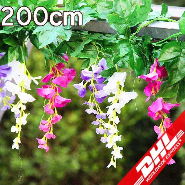 Ücretsiz kargo DHL Ipek Çelenkler Çiçekler Yapay Çiçekler Simülasyon Wisteria Çiçek Romantik Düğün Süslemeleri süslemeleri için yatak odası