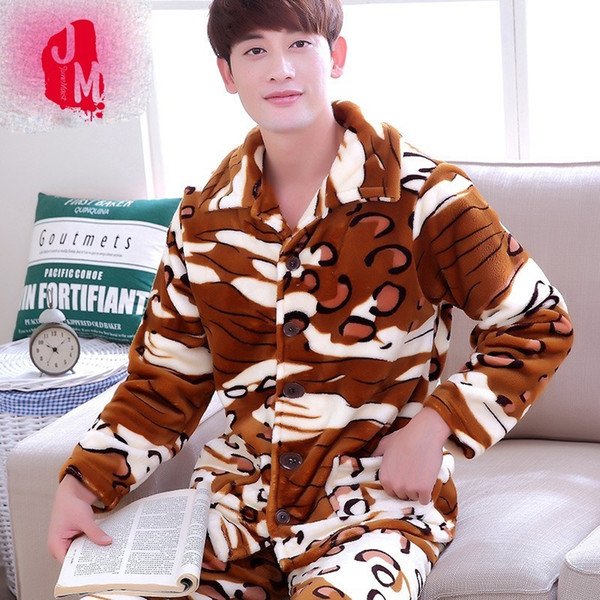 Sommeil Corail Polaire Hiver Hommes Pyjama Ensembles Chaud Complet Épais Hommes Vêtements De Nuit Costumes Flanelle Automne Pijama Imprimer Pyjama Mâle XXXL XXXXL