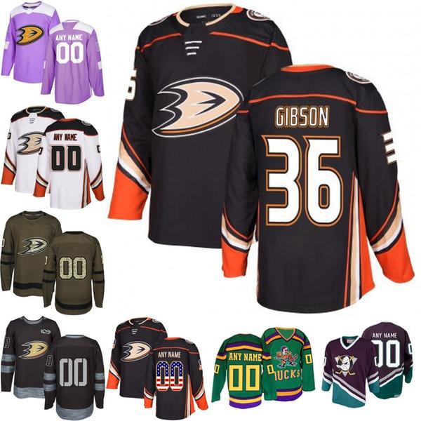 33bb65143 2018-2019 Men's Anaheim Ducks 36 John Gibson Ice Hockey Jersey purple black  white army