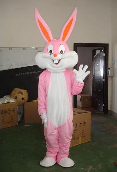 free shipping with one mini fan inside the head furry pink bunny rabbit mascot costumes for adult for easter holiday
