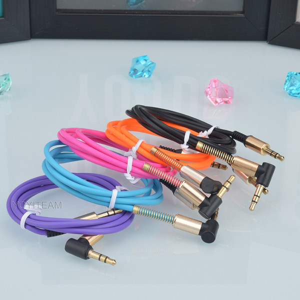 best selling 3.5mm aux cable 90° right angle head audio cable for speaker device mp3 phone radio dvd sound 1 meter multi colors male to male