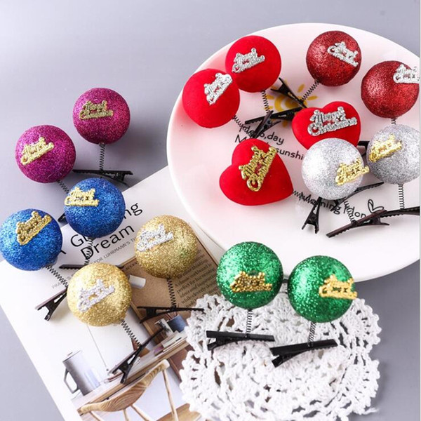 Christmas Gold Powder Ball Hairpins Children Girls Princess Hair Clips Headwear Festive Birthday Party Hair Accessories