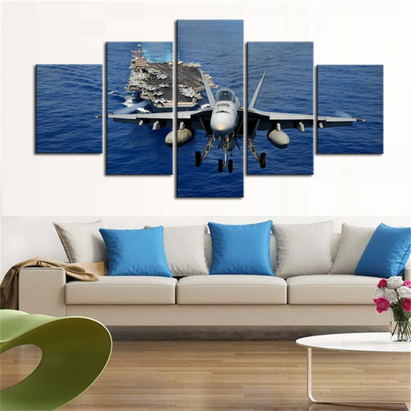 Modern 5 Piece Wall Art Airplane Picture Canvas Painting Print Stretched And Framed Aircraft And Ship Pictures Artwork For Home Decor