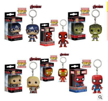 4 cm Funko POP Rick and Morty the hulk captain America iron man cartoon doll keychains cute keychains many styles can choose