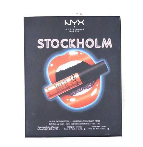 NYX STOCKHOLM lip eye face collection Soft matte lip cream Highlighter 4colors eyeshadow blush Set DHL shipping