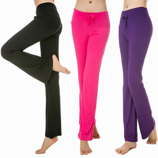 Йога брюки женщины фитнес леггинсы модальные хлопок микро расклешенные брюки середины талии тонкий квадратный танец брюки тренировки леггинсы йога брюки