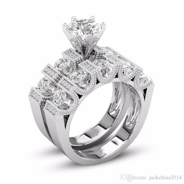 Unique Choucong Vintage Fashion Jewelry Couple Rings 925 Silver Fill Retro Eternity Round Cut White Topaz CZ Diamond Women Bridal Ring Set