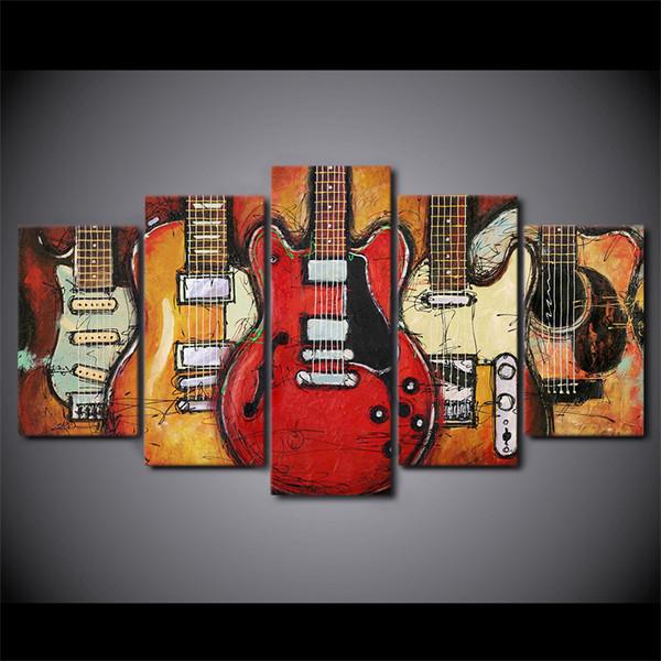 5 Pcs Canvas Wall Art Pictures Home Decor Quadro Guitarra Abstrata Pinturas Para Sala de TV HD Prints Abstract Posters