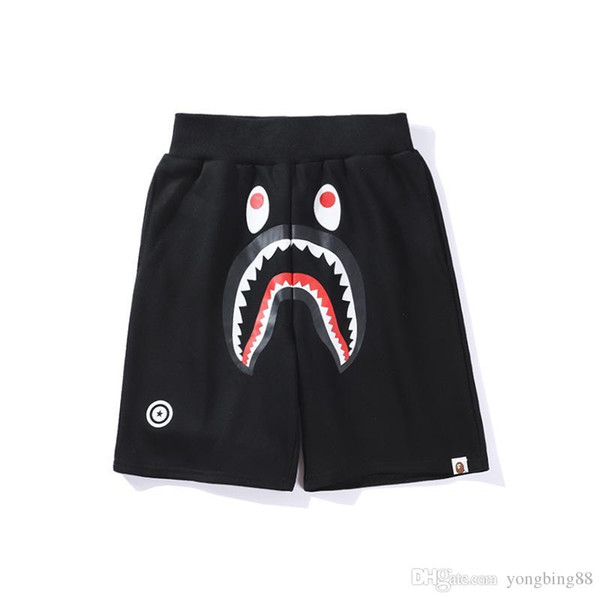 best selling Famous Brand Ape Beach shorts Cartoon Printed Shark head WGM Off Men Women Leisure pants White for Summer free shipping