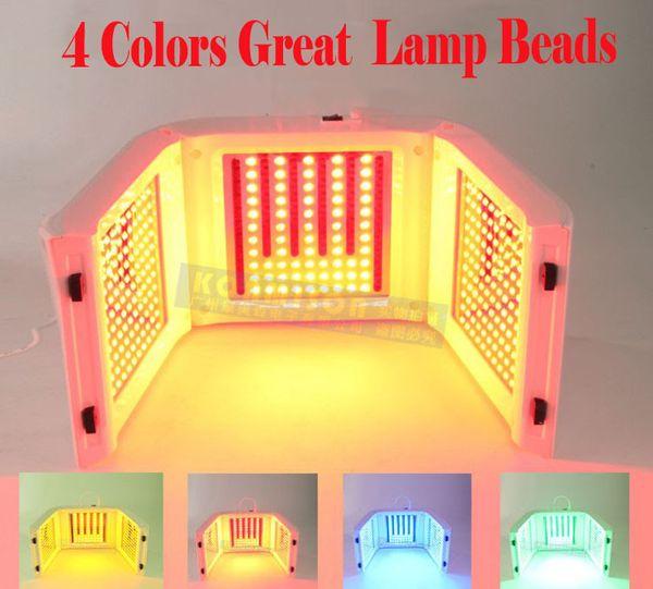 Alta calidad 4 Color Biger Beads LED PDT Cuidado de la piel con luz LED Facial Spa PDT Terapia Rejuvenecimiento de la piel para el acné removedor antiarrugas CE portátil