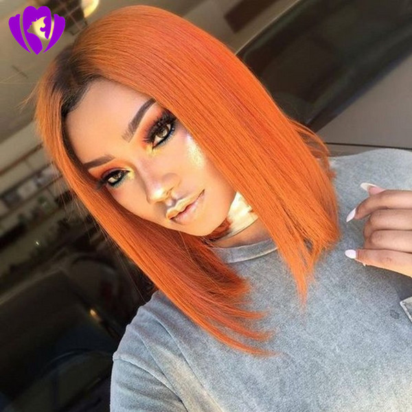 Hotselling Black Roots Ombre Orange Color Short Bob Wigs Brazilian Full Lace Front Wig Synthetic Heat Resisatant Hair For Black Women Blonde Lace