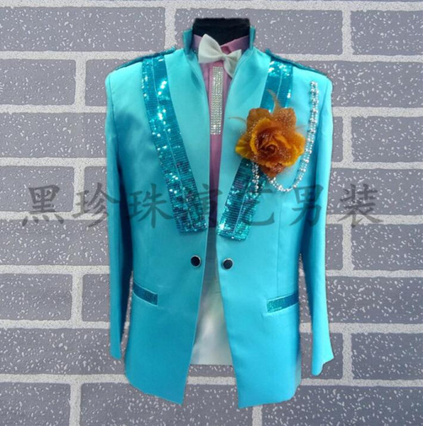 Sky Blue Men Suits Designs Masculino Stage Costumes For Singers Men Sequin Blazer Dance Clothes Jacket Style Dress Rock Fashion