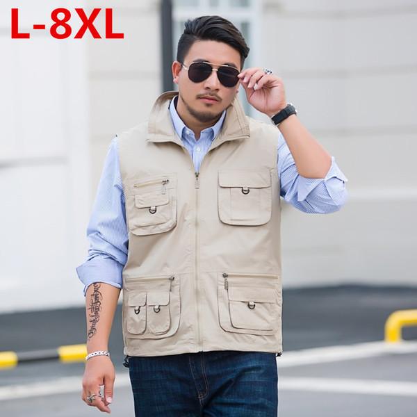 8XL artı boyutu Yelekler Kolsuz Boşaltma Yelek Ile Birçok Erkek Ceket Cepler Ceket Mens Taktik Yelek Tişörtü