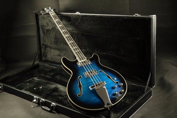 Arched Top flamed maple top semi hollow body 4 string bass guitar electric bass Guitarra all color Accept