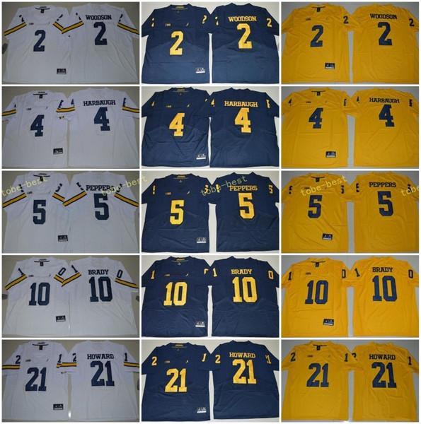 Michigan Michigan Wolverines 3 Rashan Gary 21 Desmond Howard 10 Tom Brady 4 Jim Harbaugh Charles Woodson Jabrill Peppers College-Fußballtrikot