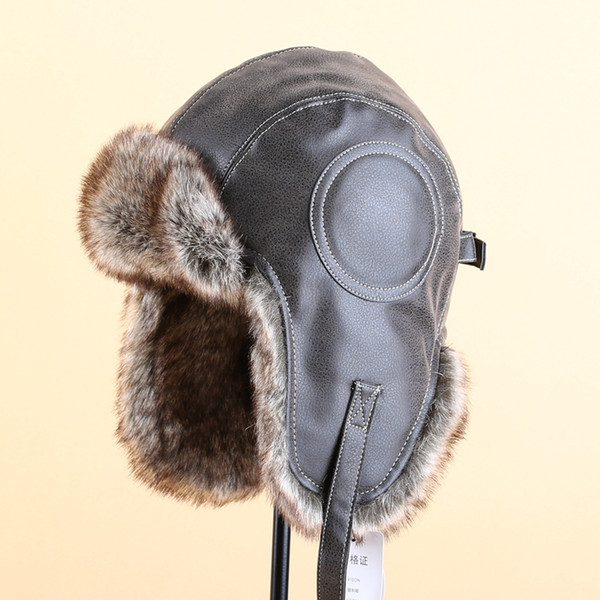 db3ed4027d870 men russian ushanka faux leather black thick warm windproof ears bomber hats  winter brown faux fur