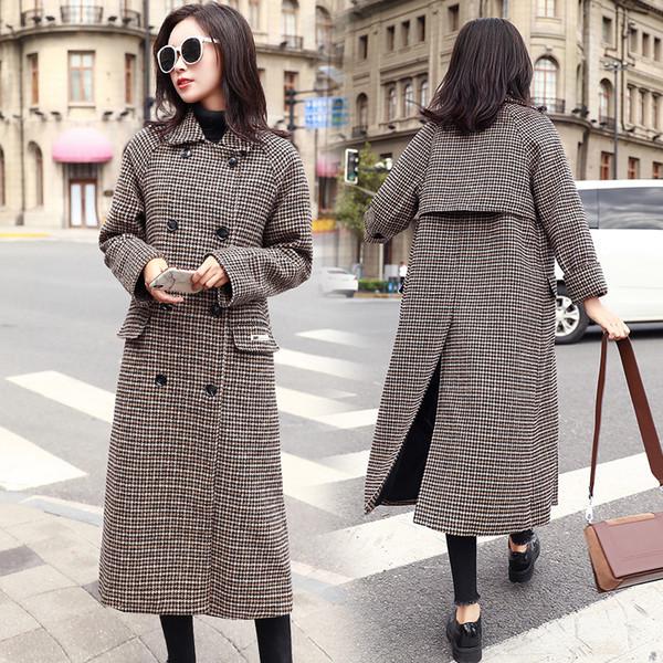Cappotto di lana del tweed della signora della donna della ragazza di modo della ragazza di modo di Houndstooth del doppio del manicotto lungo di inverno del cappotto elegante delle donne di alta qualità Trasporto libero