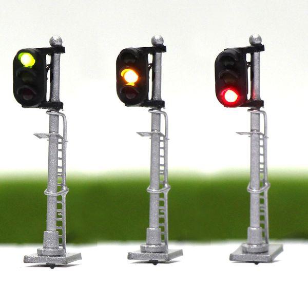 best selling JTD1503 3pcs Model Traffic Light singal Model Railroad Train Signals 3-Light 2-Light Block Signal 1:150 N Scale railway modeling