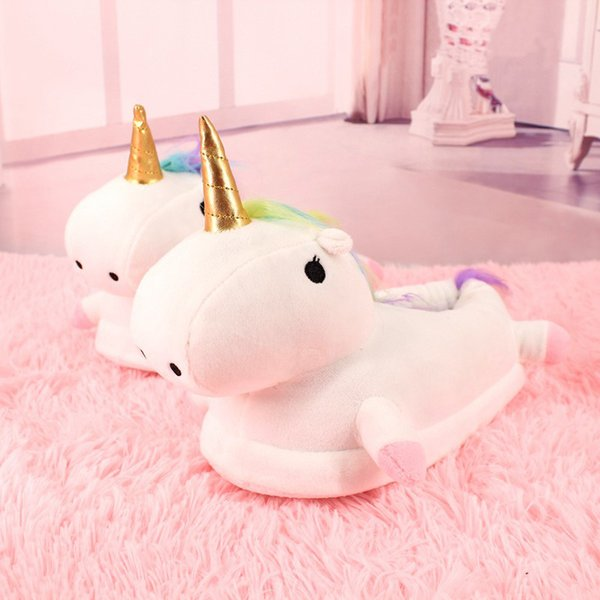 Weweya New Slippers Winter Lovely Home Slippers Cartoon Plush Chausson Licorne White Shoes Women Unicorn Shoes Mules Flip Flops