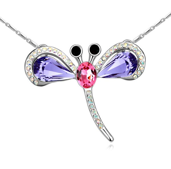 dragonfly pendant necklaces With Crystals from Swarovski original fashion jewelry for women girl bride wedding gift 2018