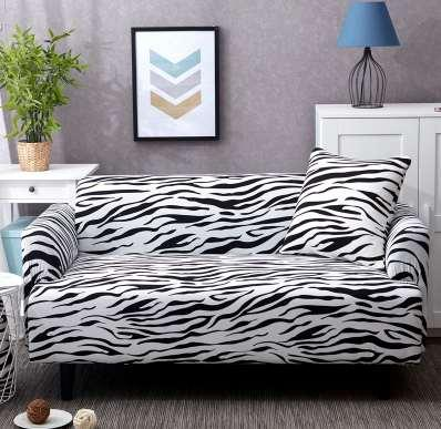 Awesome Zebra Color Living Room Sofa Cover Slipcover Elastic Convert Cover Tight All Inclusive 1 2 3 4 Seat Single Two Three Four Seater Dining Room Chair Caraccident5 Cool Chair Designs And Ideas Caraccident5Info