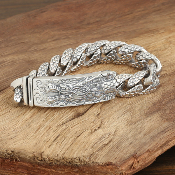 2018 new 925 sterling silver vintage jewelry American brand antique silver hand-made designer thick links mens dragon bracelets hot