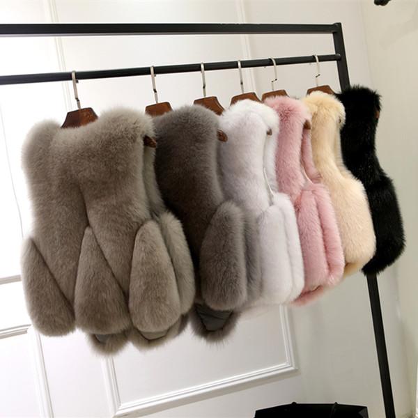2017 Autumn Winter Women's Faux Fur Vest Small Jacket Plus Size S-4XL Ladies Short Fox Fur Coat Outwear Waistcoats