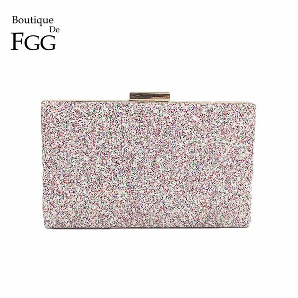Boutique De FGG Dazzling Pink Multi Glitter Women Evening Clutches Handbag Wedding Party Dinner Metal Day Clutch Purse Bag Y1890401