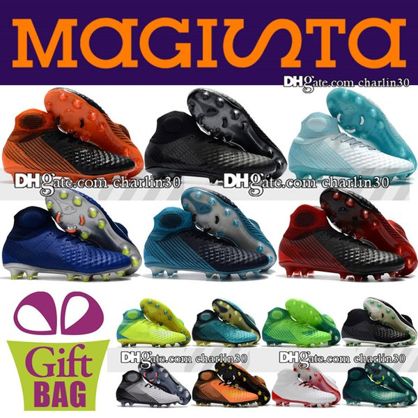 Cheap Sale 2018 New High Top Soccer Cleats Magista Obra Football Boots Outdoor Magista Obra II FG AG ACC Soccer Shoes Size 6.5-12 Shoes