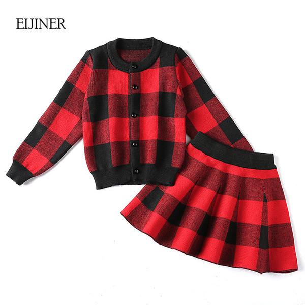 2pcs filles jupe ensemble 2018 nouvel automne casual enfants ensembles de vêtements Plaid pull + jupe à tricoter filles ensembles de vêtements enfants costume ensemble