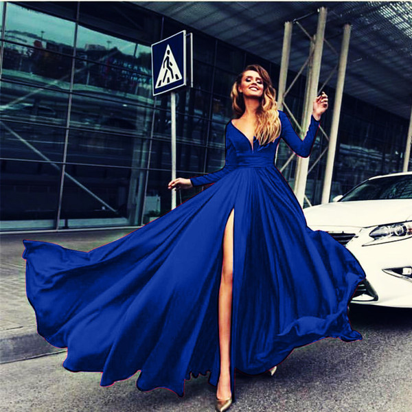 2019 V Neck Prom Party Dresses Dubai Arabic Long Sleeve Split Beaded Top A Line Sexy Back Sweep Train Evening Dresses Formal Gowns