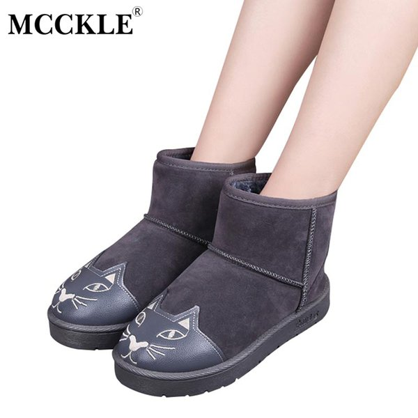 MCCKLE Female Flat Warmer Plush Cat Paern Platform Slip On Fashion Comfortable Black Winter Ankle Snow Boots Women's Shoes