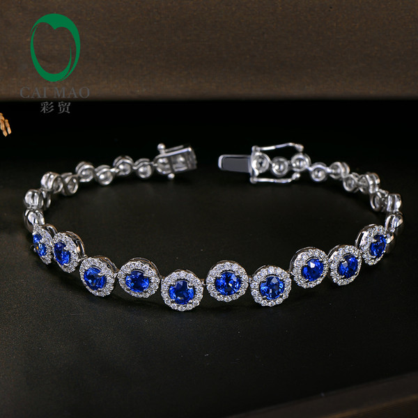 Caimao 4.23ctw Genuine Sapphire and Diamond Bracelet 18kt White gold Gorgeous Jewelry