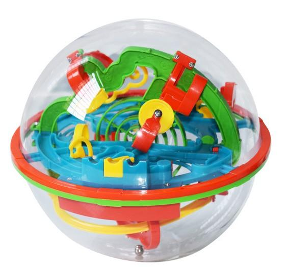 Hot 100 Barriers Funny 3D Puzzle Maze Ball Labyrinth magical intellect ball Space Intellect orbit track Game Stages Kids Toy Gift DHL 024