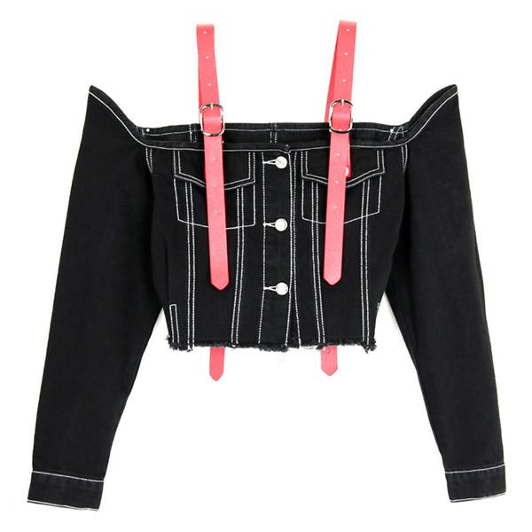 2018 Donne Sexy Off spalla Denim Top Slash Neck Suspender Short Jeans Jacket Cappotti Vogue manica lunga blu Jeans neri Camicette