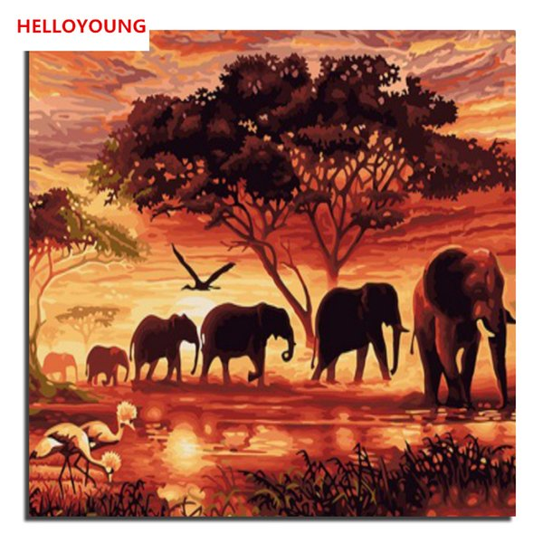 HELLOYOUNG DIY Handpainted Oil Painting Sunset elephant Digital Painting by numbers oil paintings chinese scroll paintings