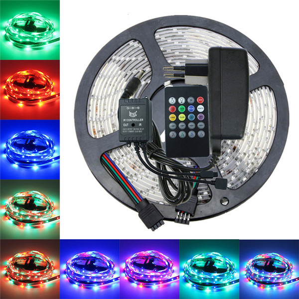 5050 3528 RGB led strip light 5M 10M Waterproof SMD Diode Tape led Ribbon With Music Remote Controller DC12V Power Adapter