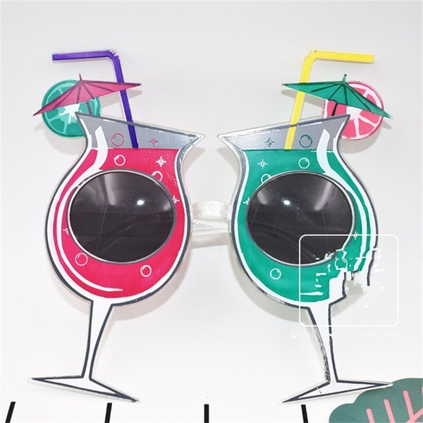 Wine Glass Shape Glasses High Foot Summer Party Supplies Funny Ball Soda Spectacles Red Green Birthday Photograph Prop 7sf V