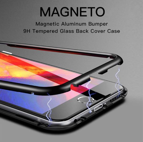 Manyetik Adsorpsiyon cep telefonu Kılıfı için iPhone 7 Artı X 8 Artı Temperli Cam arka kapak Dahili Mıknatıs Durumda Metal Tampon