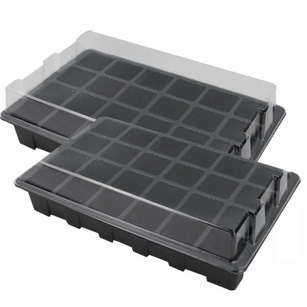 24 Cells Hole Plant Seed Tray Plastic Nursery Tray with Lid Garden Plant Germination Kit Grow Box Seeding Nursery Pot Greenhouse 5set