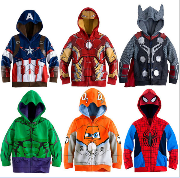 top popular Boys Hoodies Avengers Marvel Superhero Iron Man Thor Hulk Captain America Spiderman Sweatshirt for Boys Kid Cartoon Jacket 3-8T Y1892907 2019