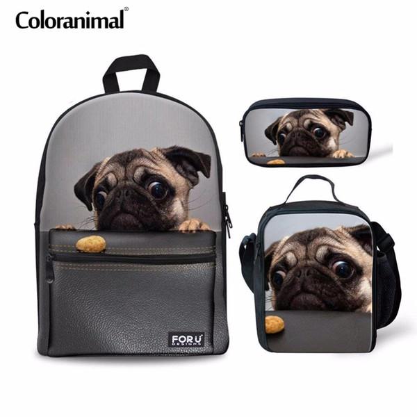 Coloranimal 3Pcs Set Adolescent Fille Garçon Sac D'école Sac À Dos Enfants Cute Pug Dog Imprimer Primaire Étudiant Grande Capacité Sac À Dos