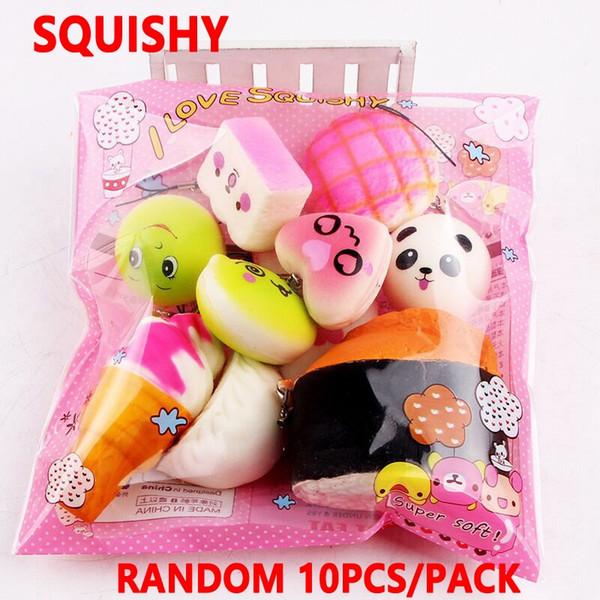 10 unids / lote squishies juguete Slow Rising Squishy Rainbow caramelos helados pastel de pan Fresa Pan Encanto Correas de teléfono Juguetes de frutas suaves