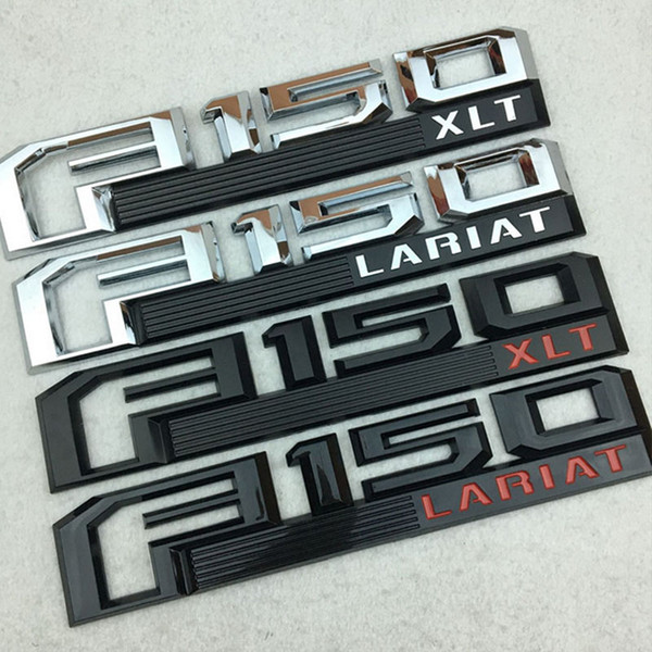 New F150 LARIAT XLT Emblem 3D ABS Chrome Logo Car Sticker Badge Door Decal Car Styling For Ford