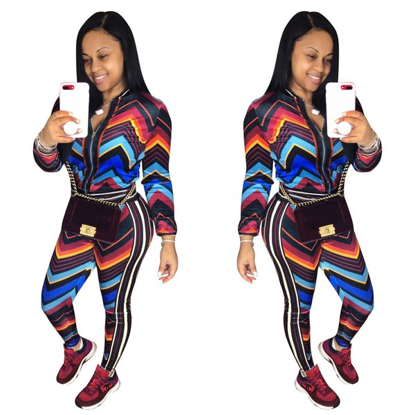 Novo estilo de roupas femininas Africano Dashiki dres moda Impressão elástico Esportes two piece top + calças tamanho S M L XL Y539