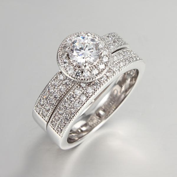 Bague de mariage définit bijoux en argent Sterling 925 Femmes Bague CZ Diamant Bijoux De Luxe De Mariage Bague Accessoires Bijouterie MSR042