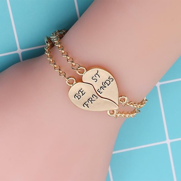2 Pcs/set Best Friends Bracelet For Women Puzzle Heart Bangle Gold Silver Bracelets & Bangles Charms Jewelry Xmas Gift