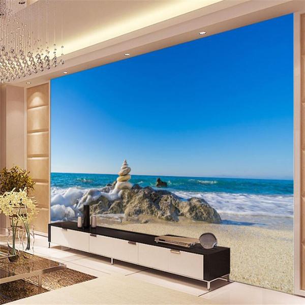 Beibehang Tapete Wandbild Benutzerdefinierte Wohnzimmer Schlafzimmer  Ästhetische Atmosphäre Küste Strand Stein Welle Ozean Wandbild  Wanddekoration