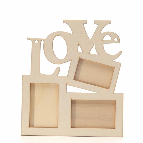 Прочный фоторамка полые любовь деревянные семьи фоторамка Рахмен Белый база искусства DIY украшения дома